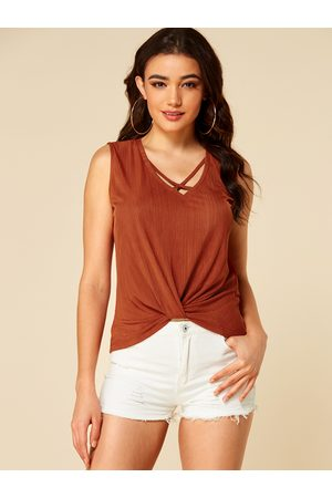 YOINS Women Tank Tops - Rust Criss-cross Twist Design Tank Top