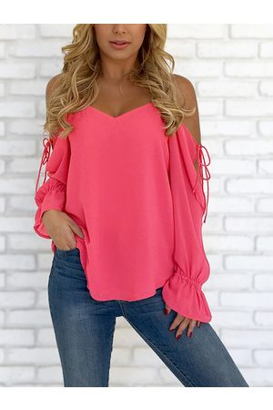 YOINS V-neck Cold Shoulder Lace-up Chiffon Blouse