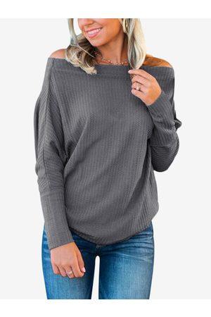 YOINS Women Long Sleeve - Off The Shoulder Bat Sleeves T-shirt