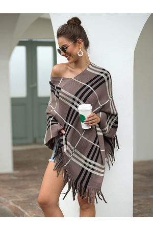 YOINS Women Coats - Tan Check Tassel Details One Shoulder Long Sleeves Cape Coat