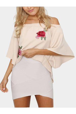 YOINS Women Tops - Apricot Off-The-Shoulder Embroidered Chiffon Top