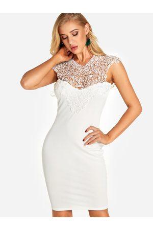 YOINS Women Midi Dresses - Lace Insert See Through Design Cut Out Back Dress