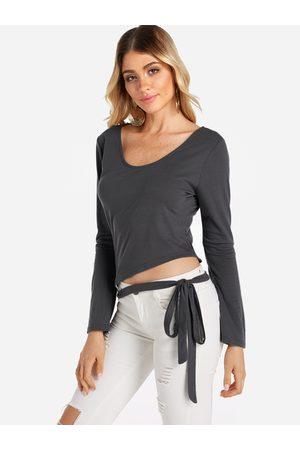 YOINS Women Long Sleeve - Self Tie Design Plain Round Neck Long Sleeves T-shirts