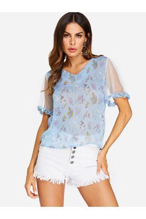 YOINS Women Blouses - See Through Design Floral Print V-neck Blouses