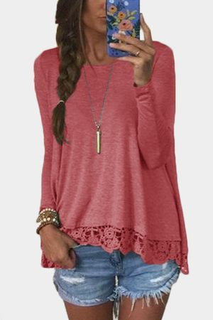 YOINS Women Long Sleeve - Lace Hem Round Neck Long Sleeves T-shirt