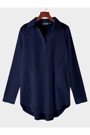 YOINS Women Casual Dresses - Chiffon T-shirt Dress With Irregular Hem