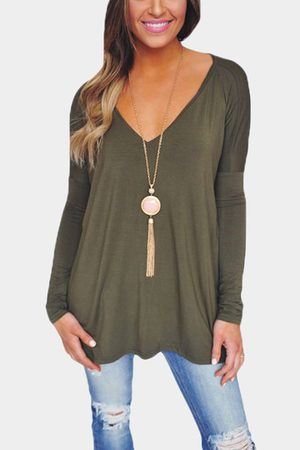 YOINS Women Long Sleeve - Causal V-neck Long Sleeves T-shirt