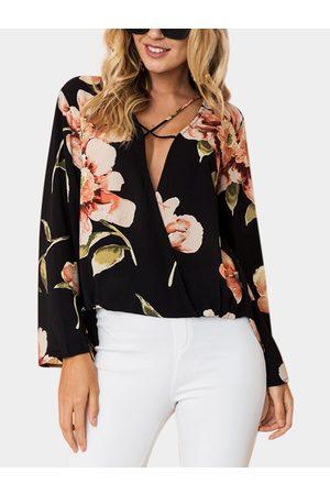 YOINS Crossed Front Design Floral Print Deep V Neck Long Sleeves Blouse