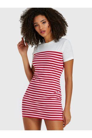 YOINS Women Short Sleeve - Stripe Round Neck Short Sleeves Dress