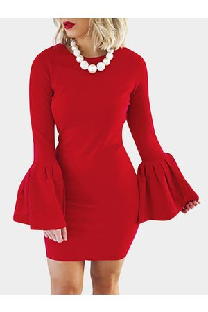 YOINS Women Bodycon Dresses - Solid Color Flared Sleeves Bodycon Mini Dresses