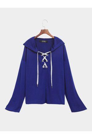 YOINS Women Long Sleeve - Dark Long Sleeves Lace-up Design Hoodie