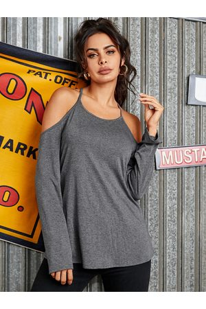 YOINS Women Long Sleeve - Grey Backless Design Halter Long Sleeves Tee