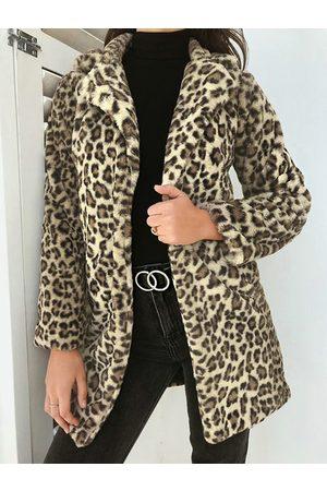 YOINS Women Blazers - Leopard Fleece Lapel Collar Coat