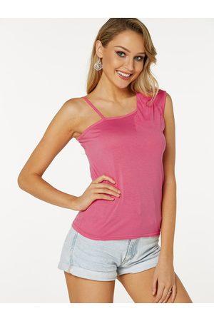 YOINS Cut Out Plain Asymmetrical Design Sleeveless Camis