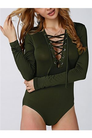 YOINS Women Bodies - Army Sexy Hollow Crosssed Front Bodysuit