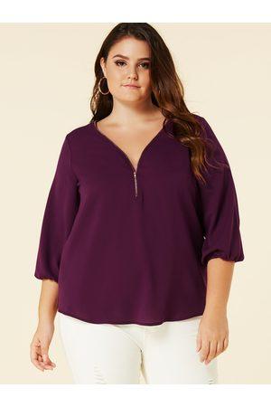 YOINS Women Blouses - Plus Size V-neck Zip Front Blouse