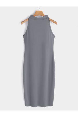 YOINS Women Bodycon Dresses - Sexy Perkins Collar Sleeveless Bodycon Dress