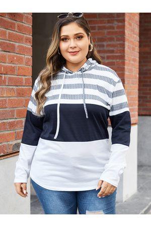 YOINS Women Sweatshirts - Plus Size White Hooded Design Stripe Sweatshirt