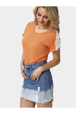 YOINS Women Short Sleeve - Short Sleeve T-shirt with Crochet Detail