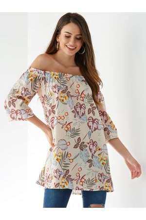 YOINS Women Tops - Apricot Random Floral Print Off The Shoulder Blouse