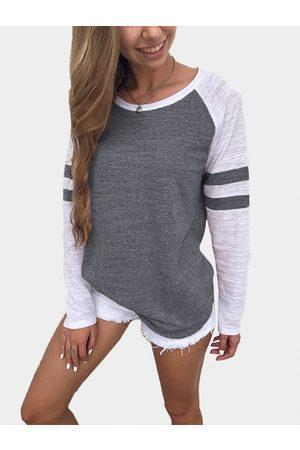YOINS Women Long Sleeve - Dark Grey Spell Color Round Neck Long Sleeves T-shirt
