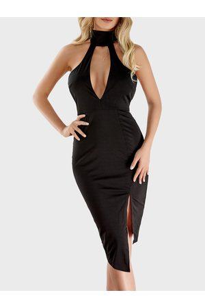 YOINS Choker Neck Cutout Chest Asymmetrical Bodycon dress