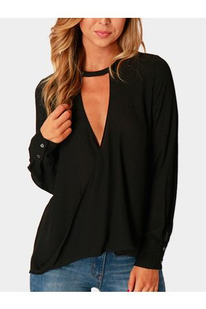 YOINS Women Blouses - Wrap Front Deep V-neck Blouse