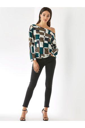YOINS Women Long Sleeve - Straps Geometrical One Shoulder Long Sleeves Knit Top