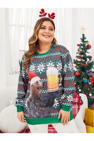 YOINS Women Sweatshirts - Plus Size Green Christmas Bear Printing Sweatshirt