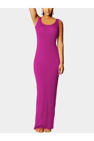 YOINS Women Party Dresses - Dark Voilet Scoop Neck Sleeveless Maxi Dress