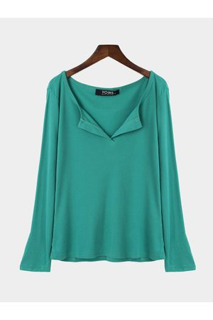 YOINS Women Blouses - Amulet Plunge Casual Design Blouse with Long Sleeves