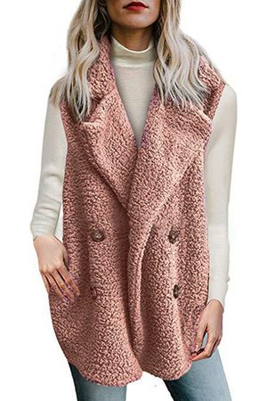 YOINS Pink Double Breasted Pockets Teddy Waistcoat