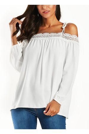 YOINS Women Blouses - Lace Trim Cold Shoulder Long Sleeves Blouse