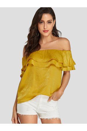 YOINS Women Short Sleeve - Ruffle Trim Off shoulder Short Sleeves Blouse