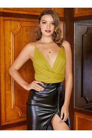 YOINS Women Bodies - Yellow Adjustable Shoulder Straps Deep V Neck Bodysuit
