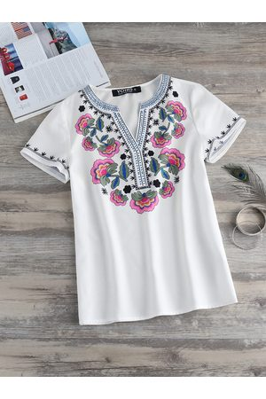 YOINS Women Short Sleeve - Floral Print V-neck Short Sleeves Blouse