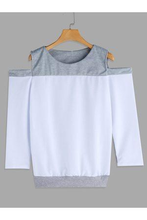 YOINS Women Long Sleeve - Cut Out Design Plain Cold Shoulder Long Sleeves T-shirt