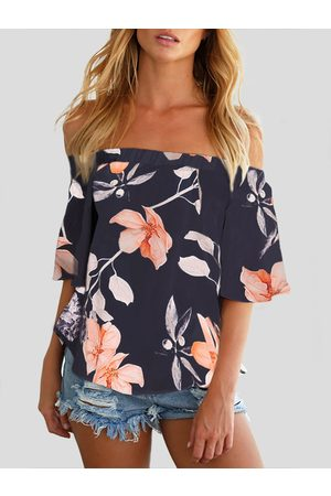 YOINS Women Tops - Off Shoulder Random Floral Print Blouse in