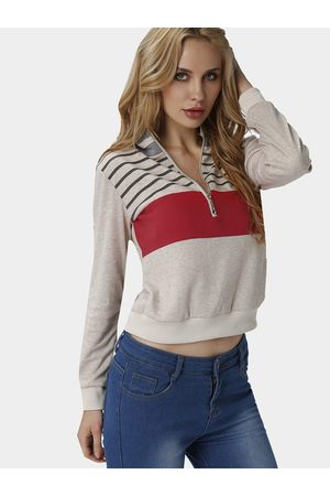YOINS Women Hoodies - Khaki Fashion Knit Striped Long Sleeves Zip Up Sweatshirt