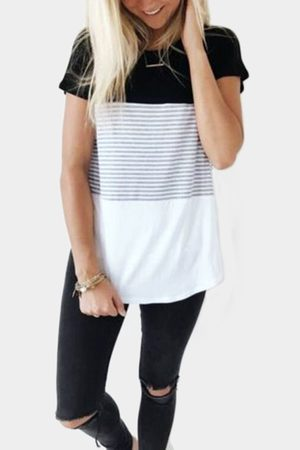 YOINS Women Short Sleeve - Black Stitching Stripe Pattern T-shirt with Contrast Color