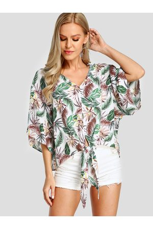 YOINS Knotted V-neck Tropical Leaf print Blouse