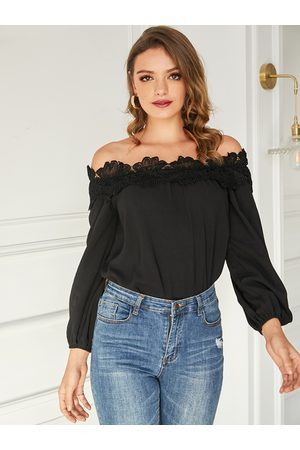 YOINS Women Tops - Black Off The Shoulder Lace Blouse