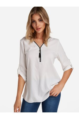 YOINS Women Blouses - Zip Design V-neck Half Sleeves Blouses