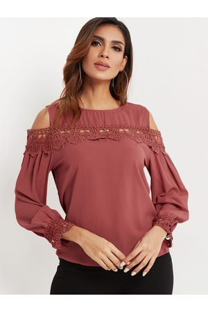 YOINS Women Blouses - Rust Lace Insert Cold Shoulder Long Sleeves Blouse
