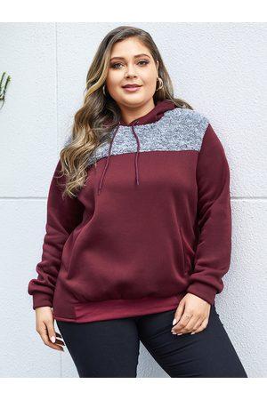 YOINS Women Sweatshirts - Plus Size Burgundy Hooded Design Patchwork Sweatshirt