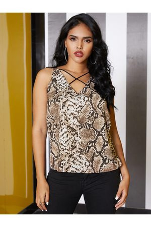 YOINS Women Tank Tops - Brown Criss-cross Snakeskin V-neck Sleeveless vest
