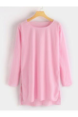 YOINS Women Maxi Dresses - Zip Design Round Neck Long Sleeves T-shirt Dress