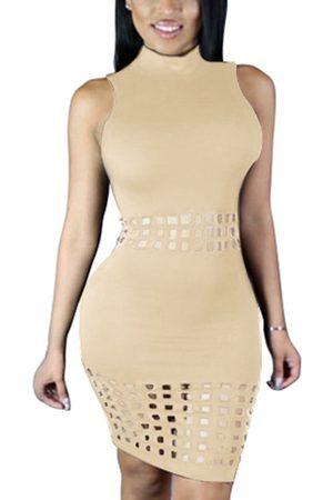 YOINS Apricot Round Neck Hollow Out Bodycon Midi Dress