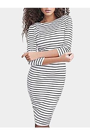 YOINS Women Bodycon Dresses - Sexy Stripe Pattern Bodycon Midi Dress