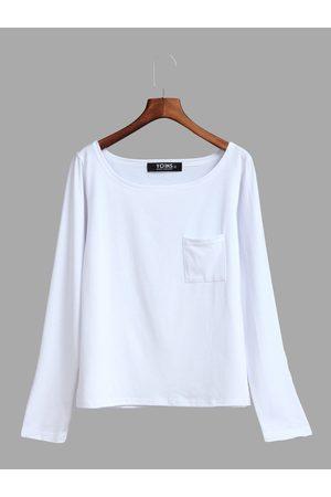 YOINS Women Long Sleeve - One Shoulder Chest Pockets T-shirt